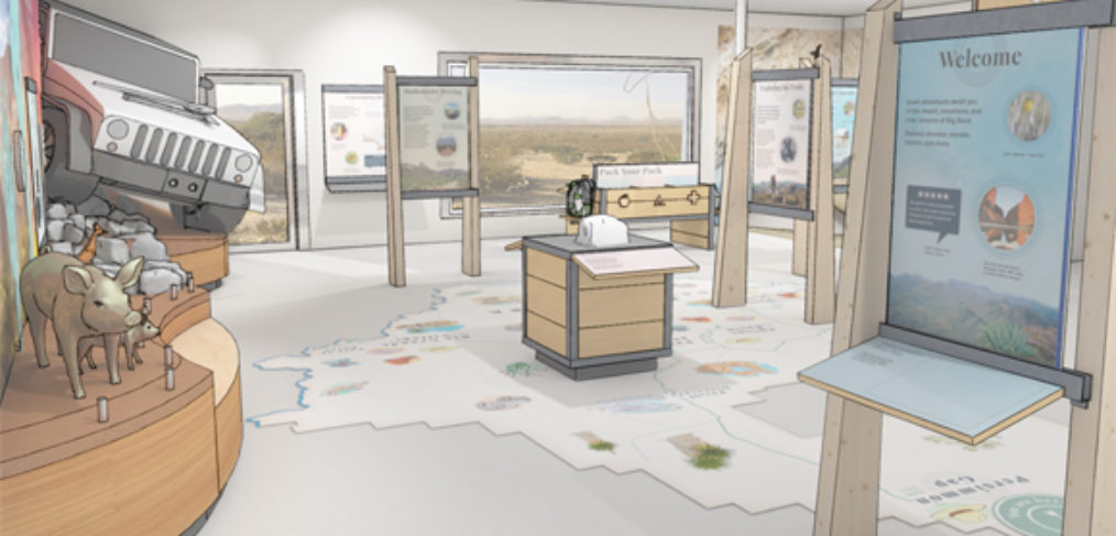 Sketch of exhibits, with a vignette with tactile javelinas and a jeep and graphic panels. There is a map on the floor.