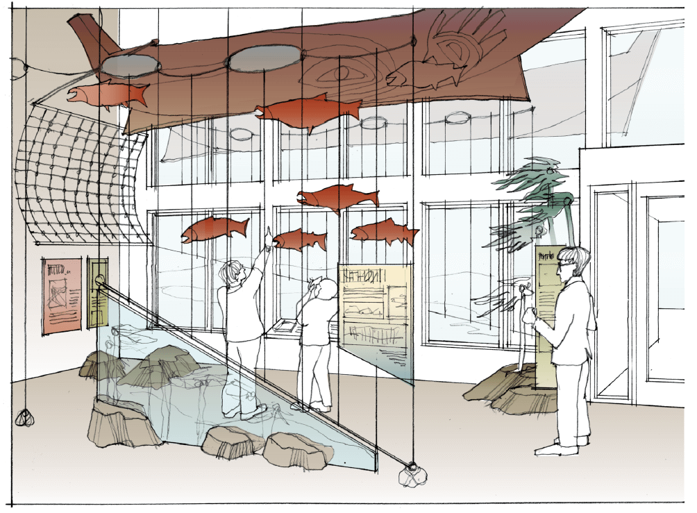 Sketch of visitor center lobby with modeled fish
