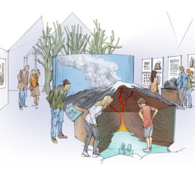 Sketch showing visitors peering at a volcano cross section