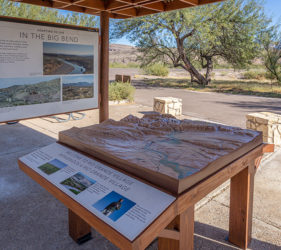 Outdoor tactile map with reading rail and interpretive panel
