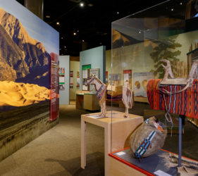 Exhibit overview with wooden horse interactive at the center