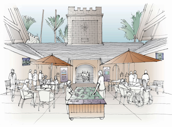 Sketch of visitors standing around tables in courtyard under two umbrellas